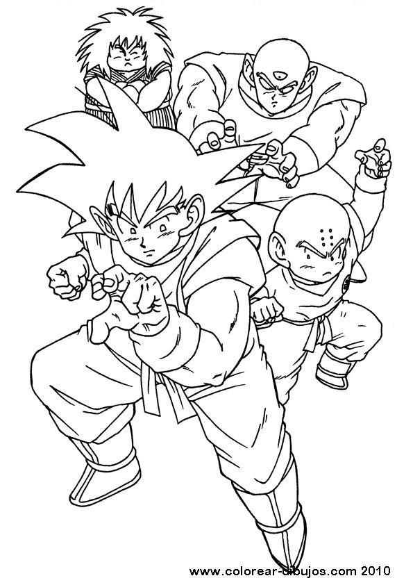 dibujos para colorear de dragon ball;son goku y sus