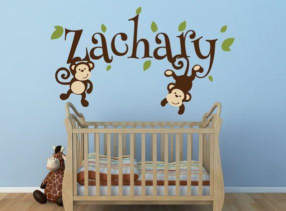 Boys Monkey Name Decal Swinging Nursery Decor Jungle Theme Vinyl Wall