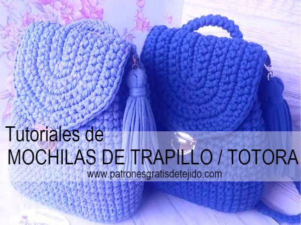 Como tejer mochila crochet en trapillo o totora a crochet  c443f4ea164bc