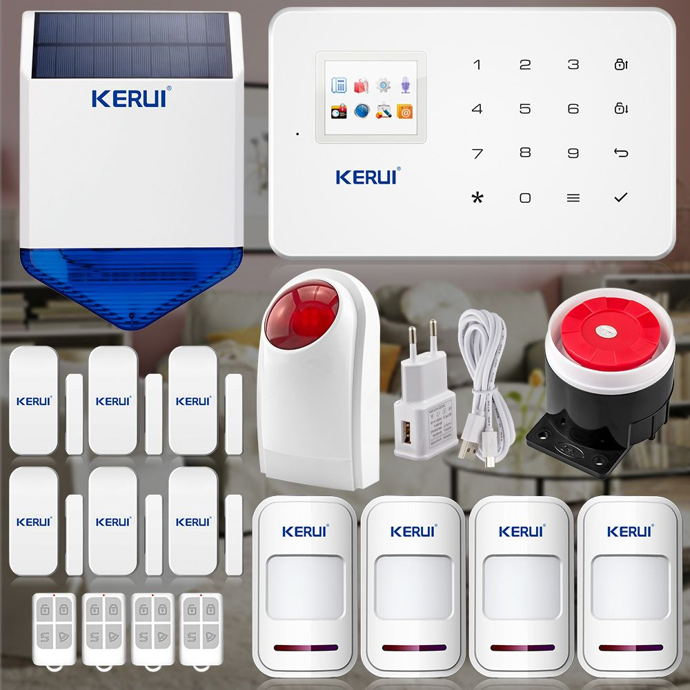 $181.99 (Buy here: http://appdeal.ru/dvoe ) IOS Android App controller Wireless GSM sim call Home Smart safety Burglar Security  Alarm System waterproof ourdoor solar siren for just $181.99