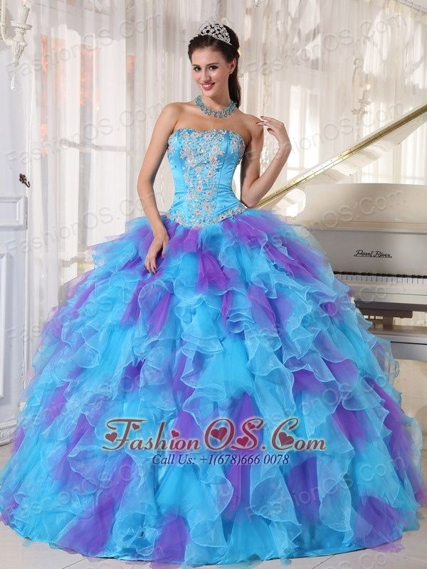 50bd79a7eb Baby Blue and Purple Quinceanera Dress Strapless Organza Appliques Ball Gown
