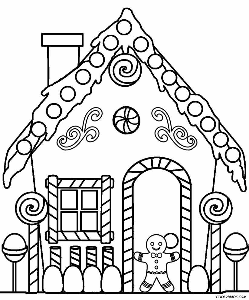 Free Printable Christmas Gingerbread House Coloring Pages Display