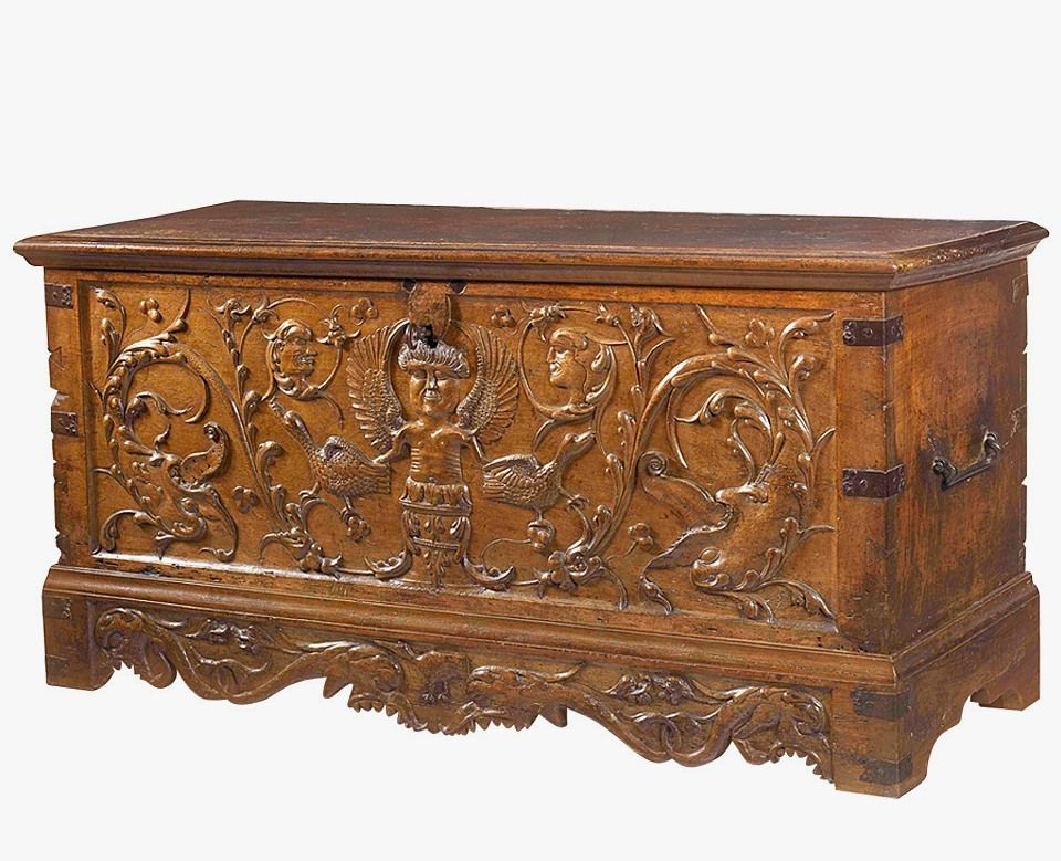 Bon French Renaissance Walnut Chest With Rich Patina