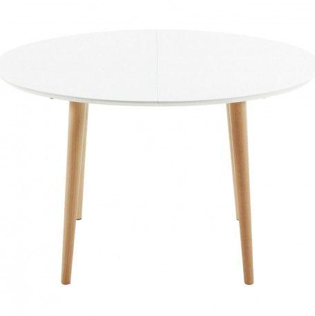 Mesa ovalada extensible en madera color blanco | DECORACION: COCINA ...