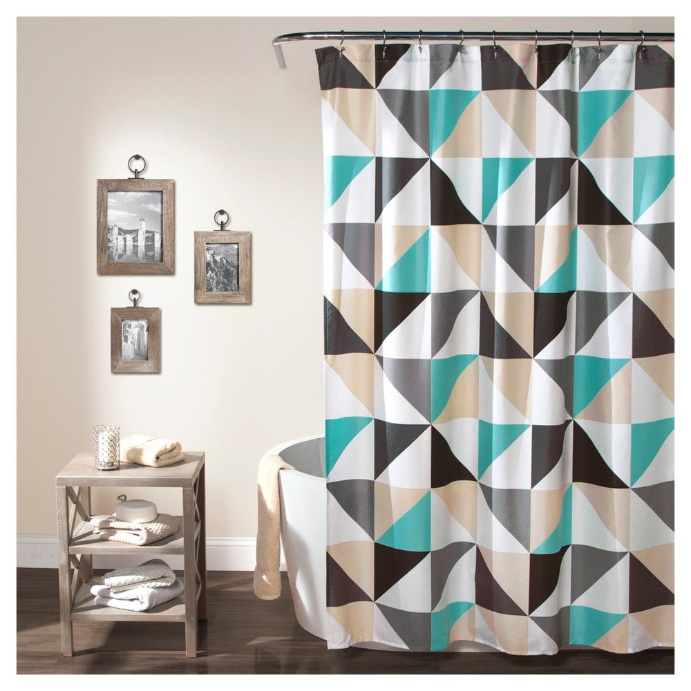 Abner geo shower curtain turquoise lush decor products