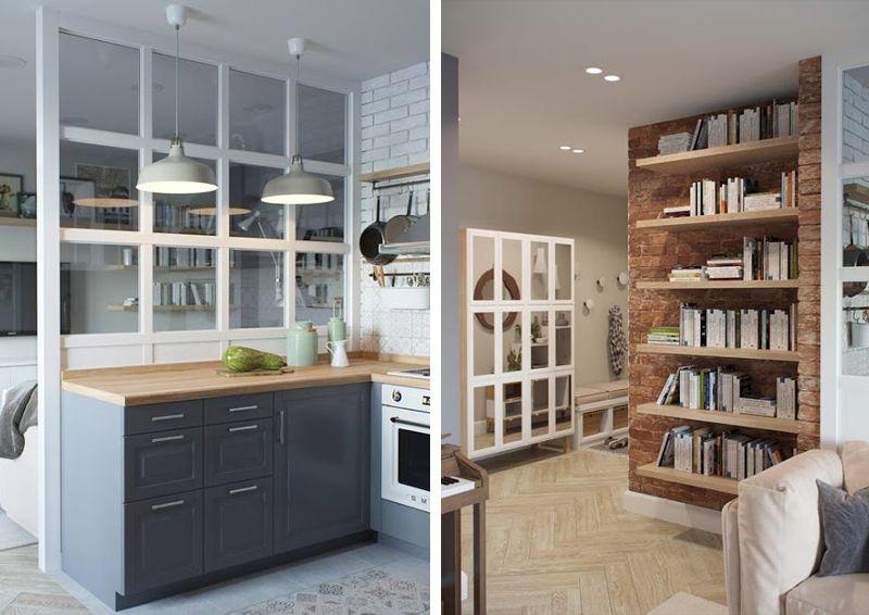 Mini appartamento in azzurro bianco e legno pareti for Arredamenti per ingresso appartamento