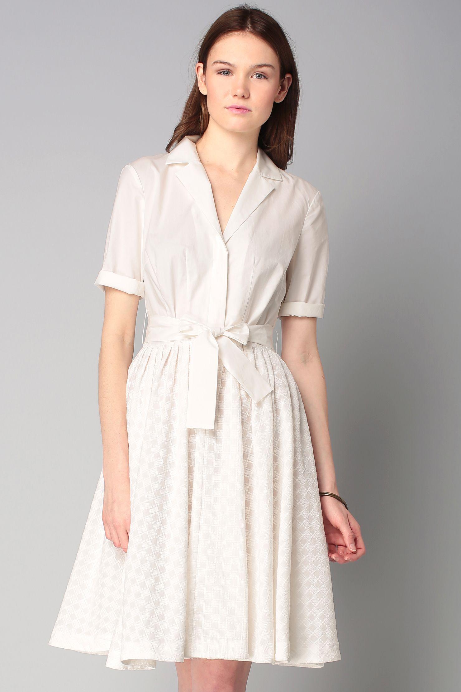 4355153e1 Robe chemise blanche jupe brodée Geo Flora Cotton | My little white ...