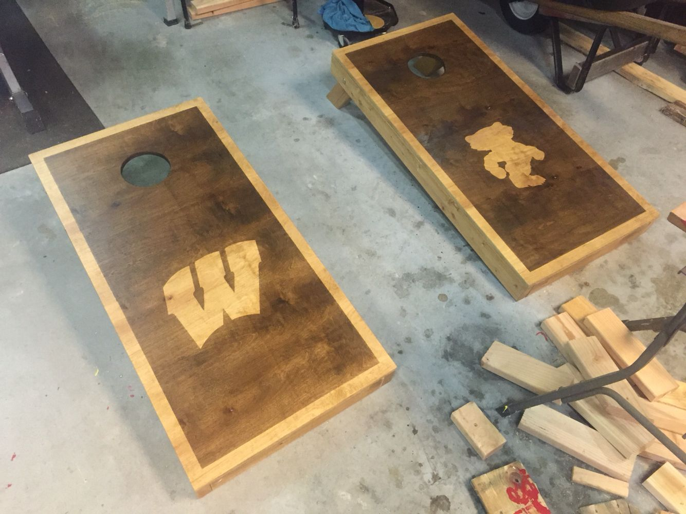 Home gt cedar adirondack wisconsin chairs with personalized laser - University Of Wisconsin Badgers Aca Cornhole Boards I Made Using Espresso And Golden Oak Minwax Stains