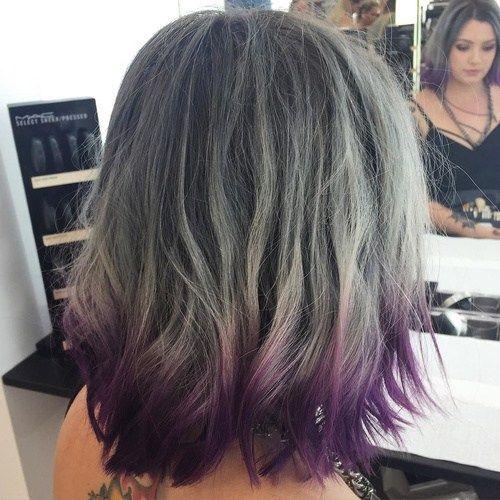 Gray Balayage And Purple Dip Dye