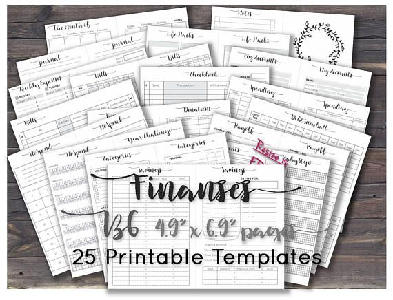 Traveler S Notebook Calendar Inserts : B travelers notebook inserts printable budget planner