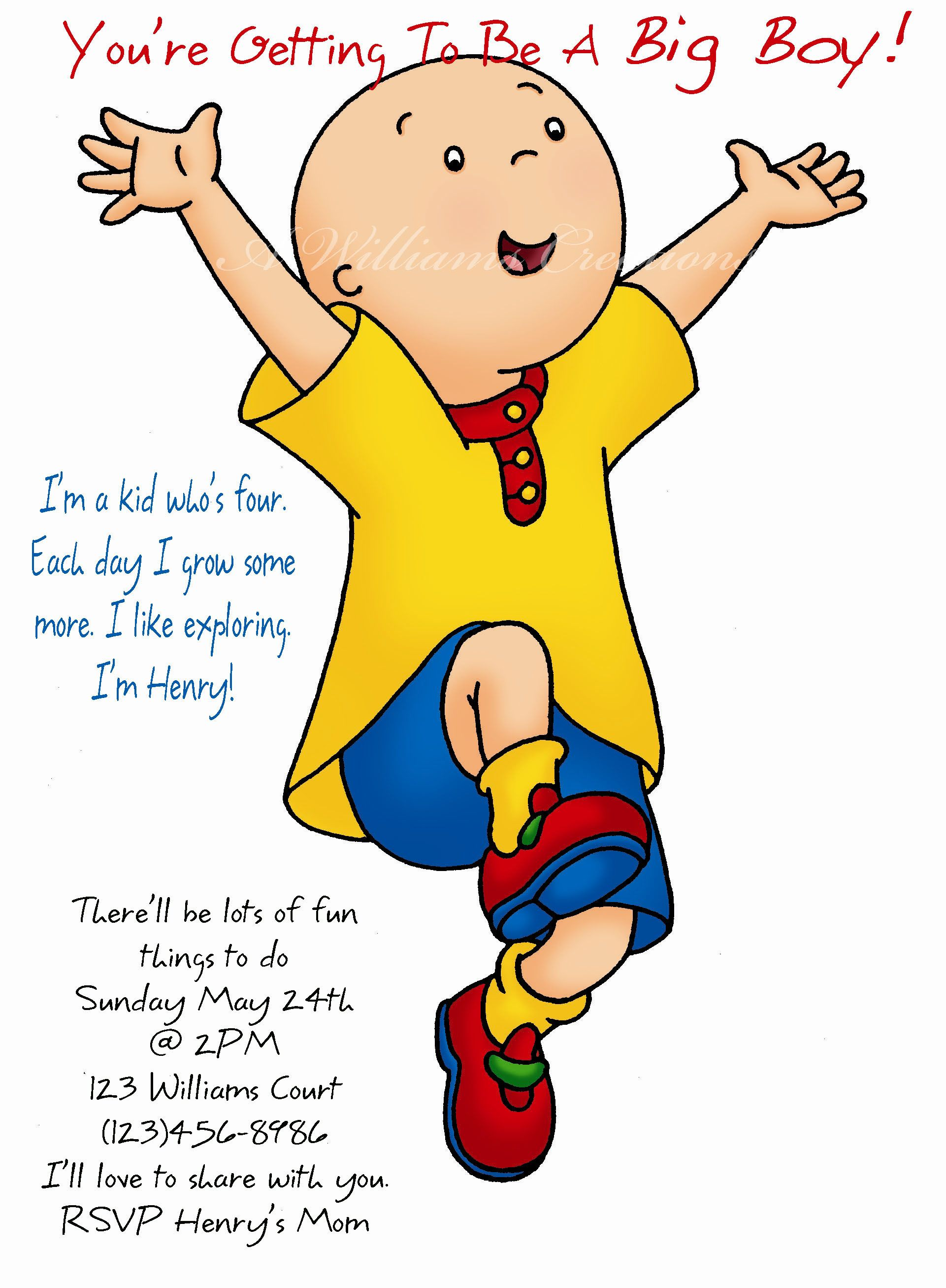 Caillou Birthday Invitations $14.00 for a set of 10, plus shipping ...