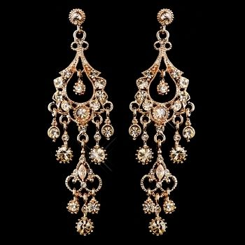 e4443ad69256 Rose Gold Chandelier Wedding and Prom Earrings - over 3