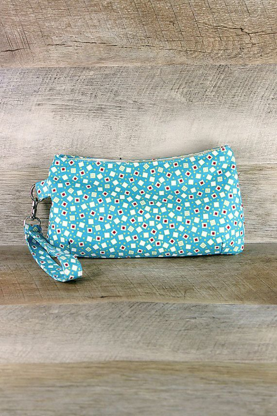 Your place to buy and sell all things handmade #confettisquares Small Wristlet, Clutch, Scattered Confetti Squares on Turquoise, Modern Art Deco, Flapper Handbag, Purse, Christmas gifts, Gifts for Her #confettisquares