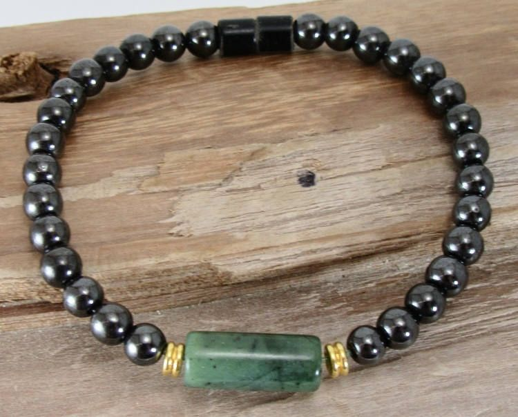 Men's Magnetic Magnetite Jewelry Single Bracelet Green Jasper Cylinder Brazilian magnetite drug free pain relief arthritis FREE SHIPPING