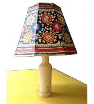 Multicoloured leather lampshade hand painted indian lampshades multicoloured leather lampshade mozeypictures Images