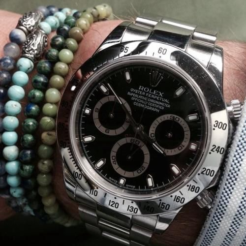 See the post 'Mr.Bauer wearing some VM bracelets & Rolex Daytona...' in The Journal at Viola Milano.