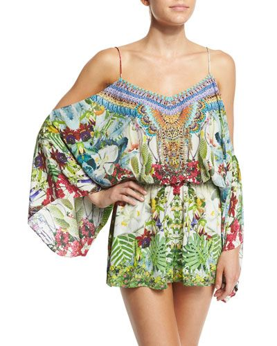 ee397888ae72d Camilla romper coverup in embellished tropical-print crepe. V neckline   scoop back. Spaghetti straps  cold shoulders. Long bell sleeves. Blouson top .