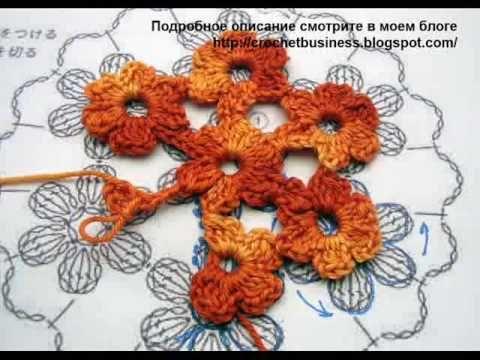 безотрывное вязание кругового цветочного мотива