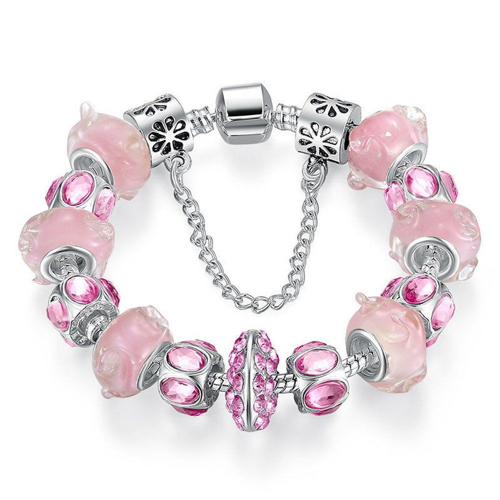 Pink crystal bead charm bracelet with safety chain fashion jewelry