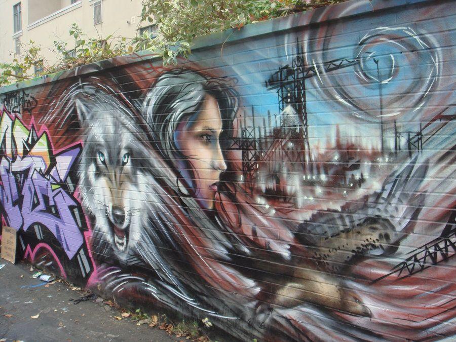 картинки с волками граффити