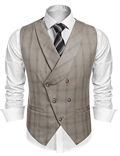 Men Vintage Slim Fit Double-Breasted Plaid Dress Waistcoat Suit Vests