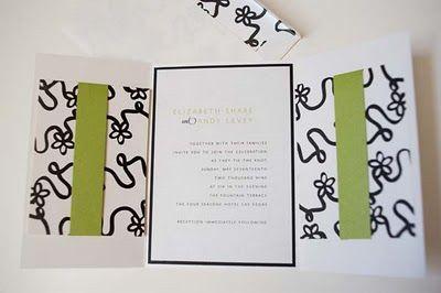 Lime Green, white and black wedding invitation