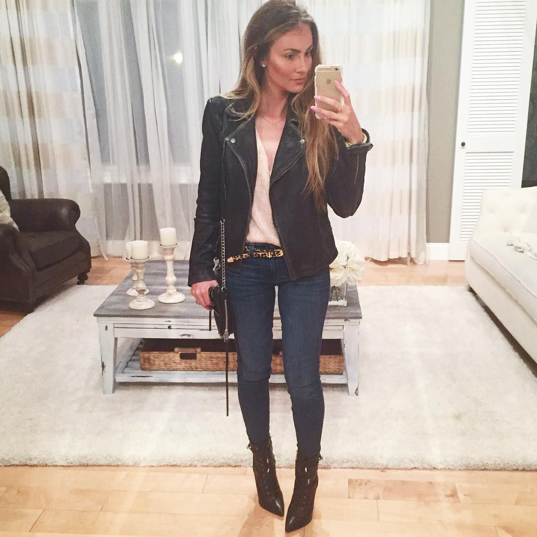 All Saints cargo leather jacket, J. Crew toothpick skinny jeans, H&M pink sweater and Steve Madden Bryton boots. #HelloGorgeous