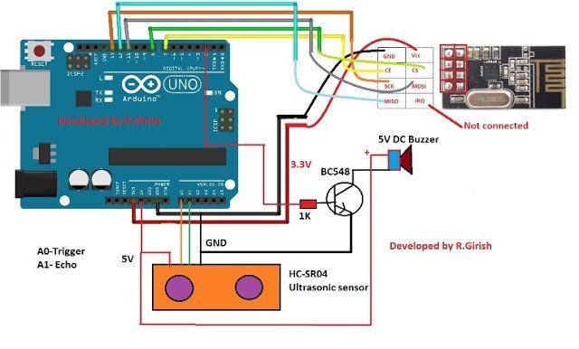 Car Parking Sensor Alarm Circuit Using Arduino Arduino Circuit