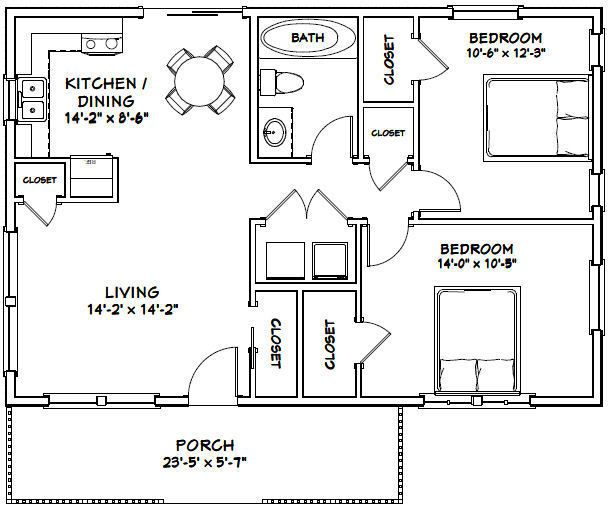 36X24 HOUSE -- 2 Bedroom 1 Bath -- 864 sq ft -- PDF Floor ...