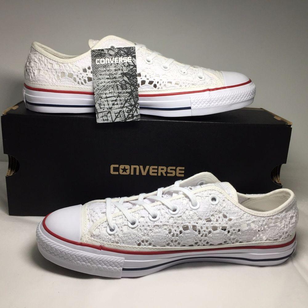 45f651b6b433 Converse Chuck Taylor Specialty Ox Crochet 549314C Optic White Red Blue  Women 10  Converse  549314C