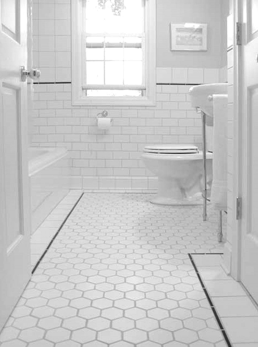 Hexagon Bathroom Floor Tile With Amazing Black And White In Home ...