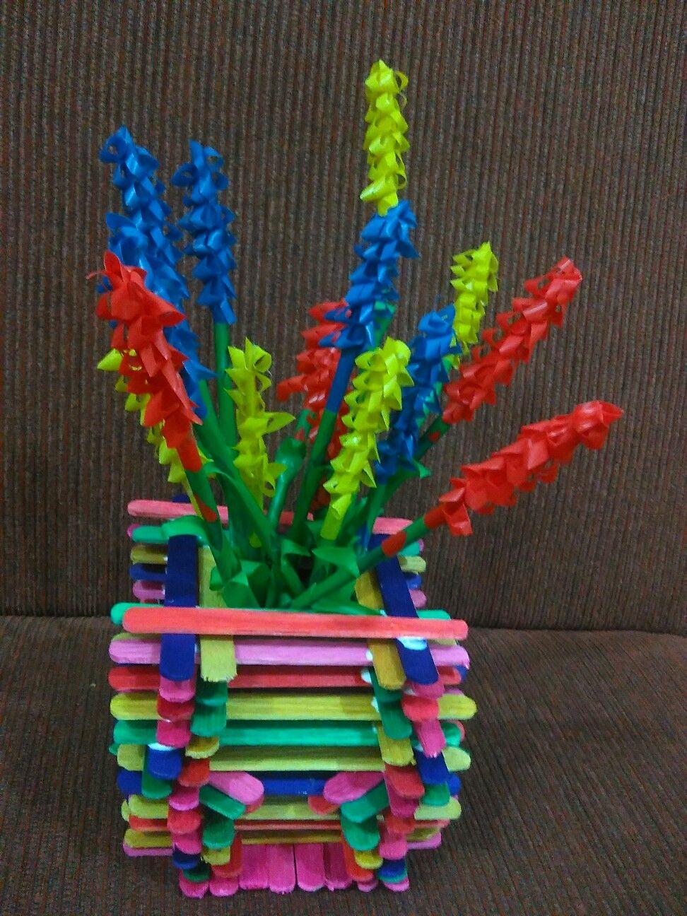 Diy Vas Bunga Dari Stik Es Krim Dan Bunga Dari Pipet Sedotan