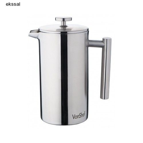 Vonshef Double Wall Keep Warm Satin Brushed Stainless Steel French Press Cafetiere Coffee Cup W Measuring Spoon And Sealing Clip