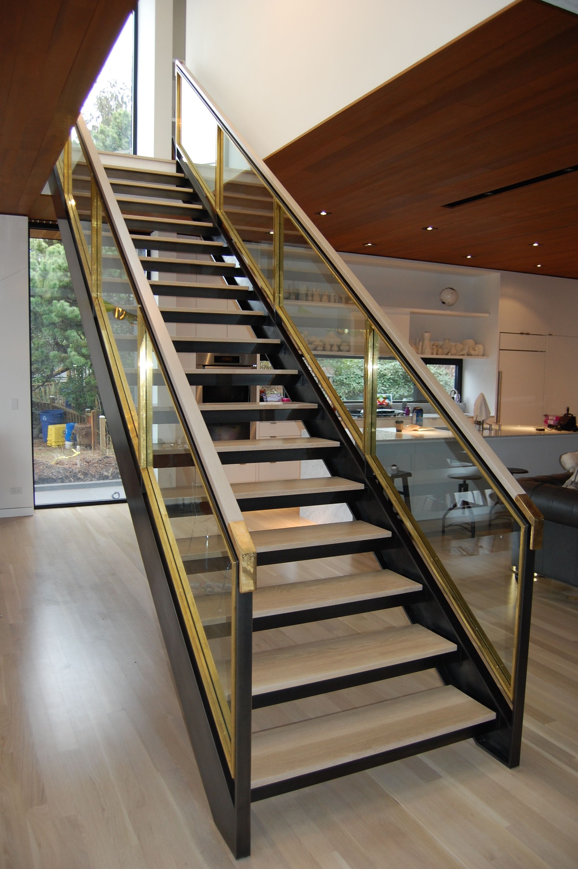 Staircase Built Out Of Blackened Steel Brass And Glass | Stairs With Glass Sides