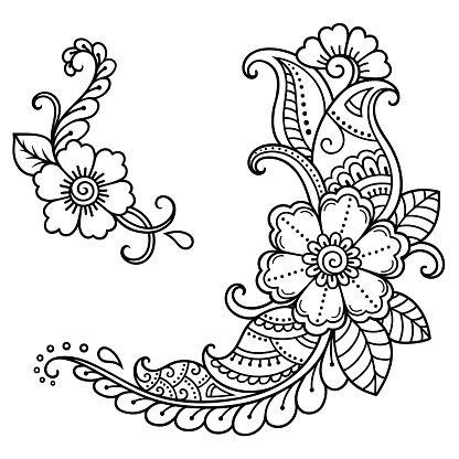 Henna tattoo flower template. Mehndi style. Set of ornamental...