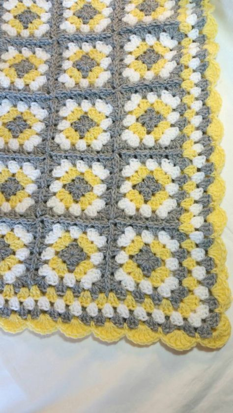 Crochet Baby Blanket Granny Square Baby Blanket Gray Grey Yellow ...