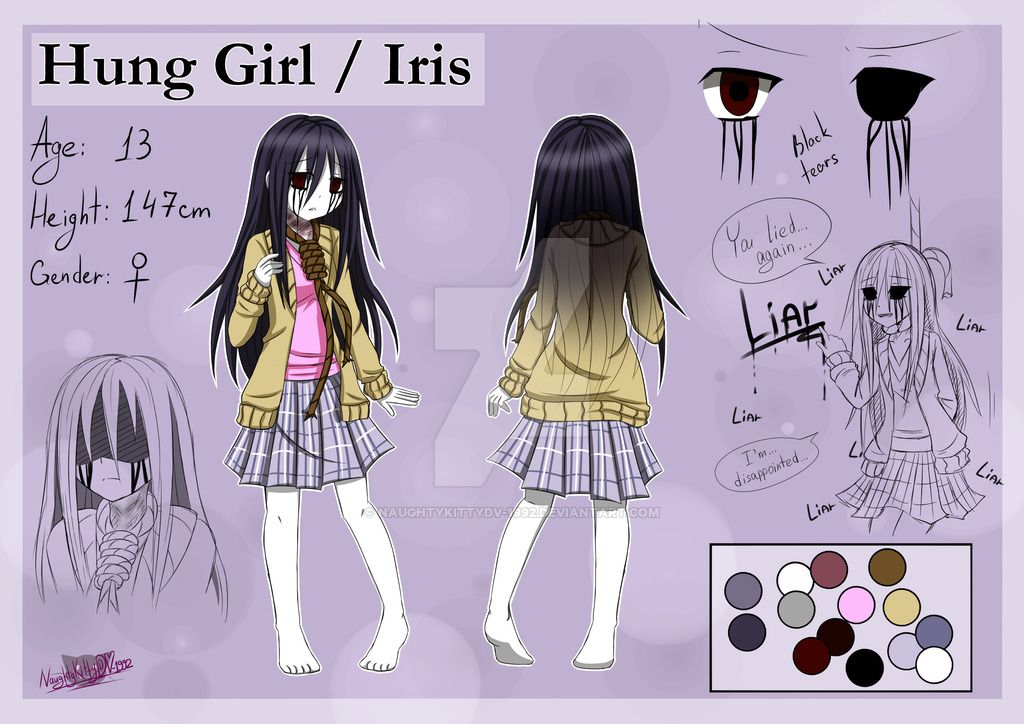 Creepypasta Oc Hung Girl Iris Reference Sheet By Naughtykittydv