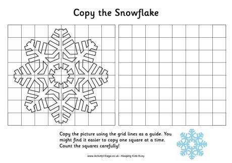 Challenge the kids with this grid copy snowflake Random - copy children's abc coloring pages