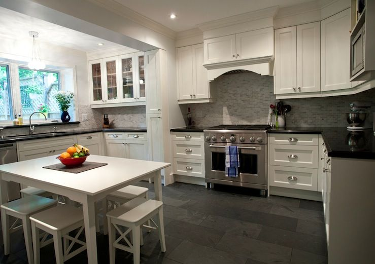 15 Cool Kitchen Designs With Gray Floors | Slate kitchen ... Ideas For Kitchen Cabinets White Tile Floor on ideas for white kitchen cabinets, ideas for white bathroom tile, ideas for white kitchen backsplash,