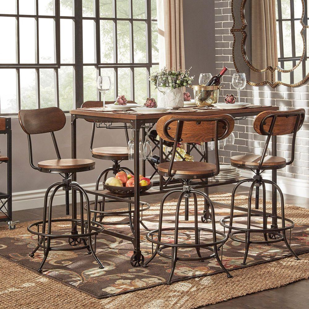 Homesullivan Olson Wood And Metal 5 Piece Counter Height Dining Set In Brown 405429 365pc The Home Depot