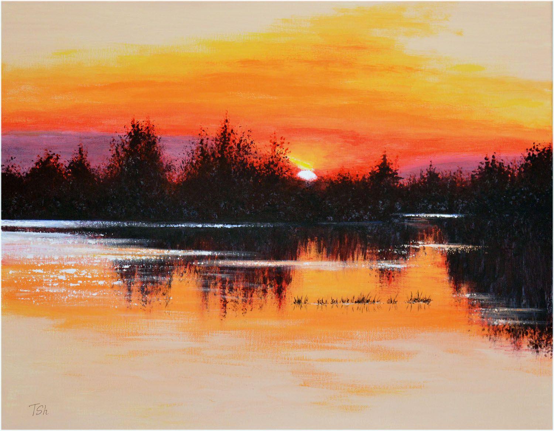Original Acrylic Painting Sunset Landscape Lake In 2020 Sunset