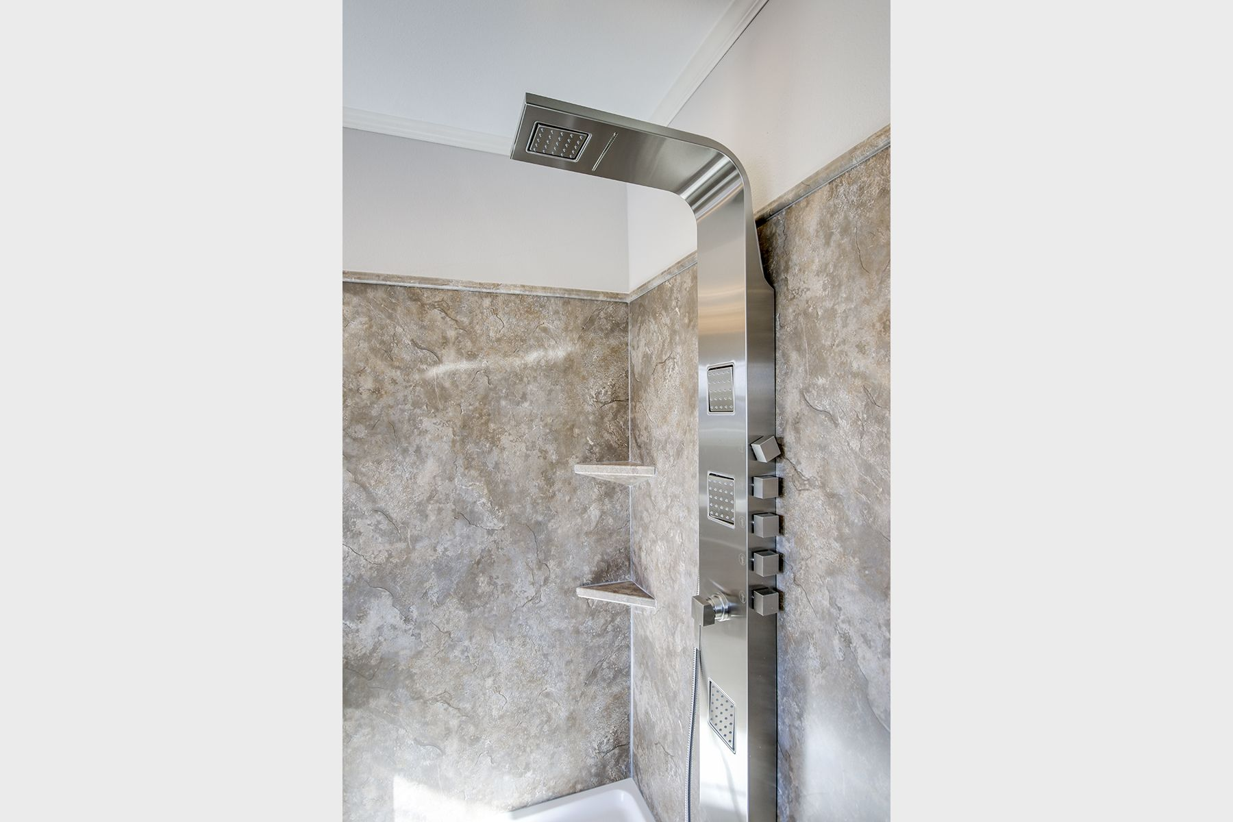 Shower Tower System With Handheld Sprayer Frameless Glass