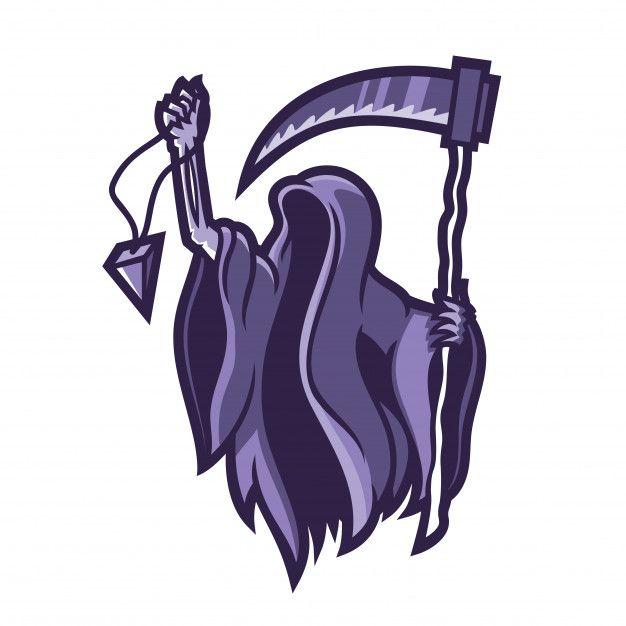 Grim Reaper Holding Holding Scythe Esport Gaming Mascot