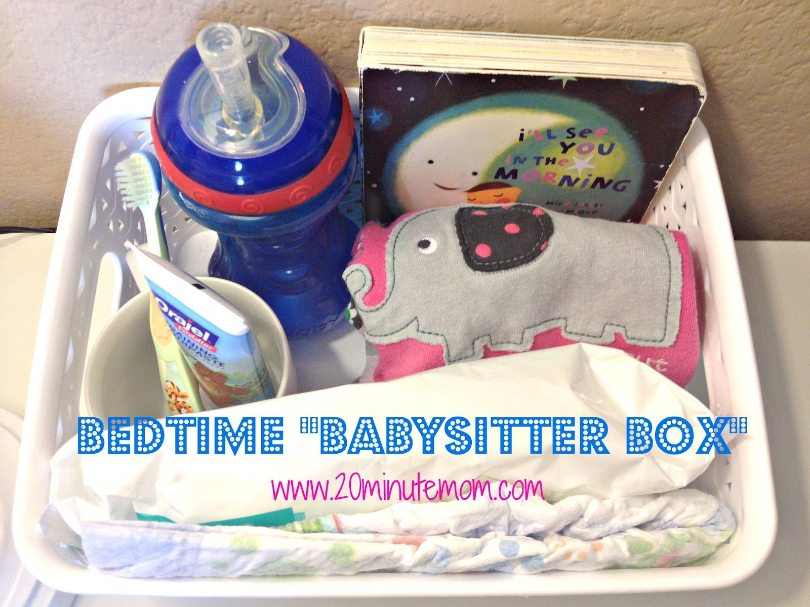 """Why didn't I think of this when I had little ones? This is a GREAT idea from @Amy {20 Minute Mom} A """"Babysitter Box"""" for an Organized Bedtime Routine"""