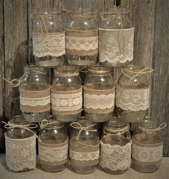 Wedding Centerpieces, Bridal Shower Decorations, Burlap Mason Jars, No Jars, Mason Jar Wedding, Baby Shower Decorations, Rustic Centerpieces #bridalshowerdecorations