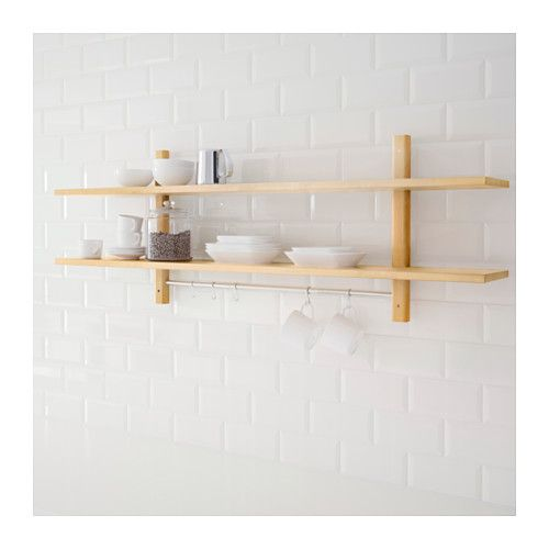 VÄRDE Wall shelf with 5 hooks - birch - IKEA Ideas para el hogar - küchen regale ikea