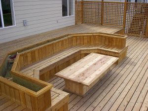 The Deck Guru - benches, planters ,and lattice/planter makes a back rest for convesation pit .custom lattice style hand rail