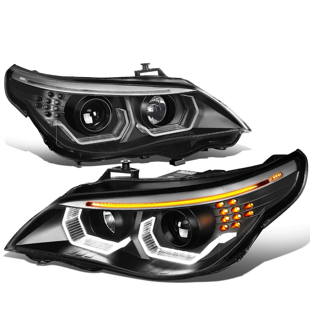 Black Housing 3d Led U Halo Projector Headlight Lamps For Bmw E60