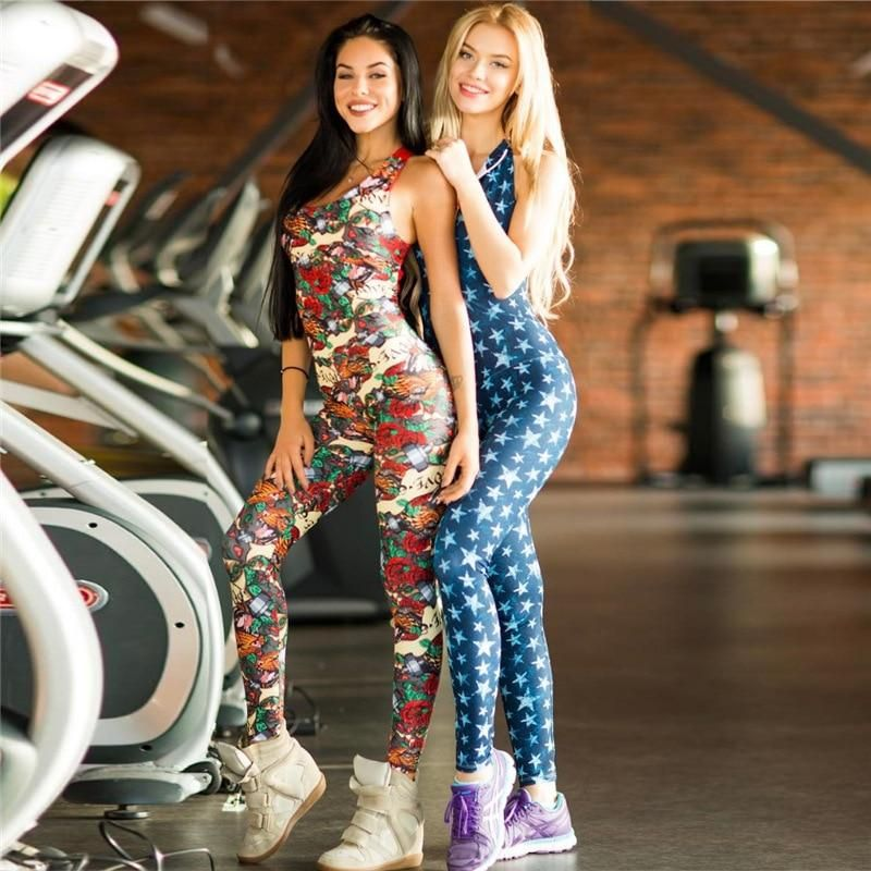 be4fb92c1c0 2018 One Piece Women Gym Sportwear Floral Print Workout Clothing ...