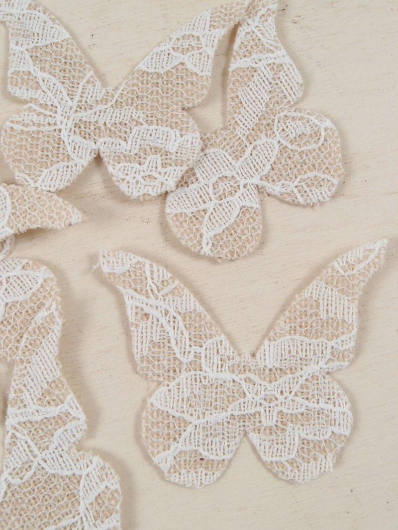Farfalla shabby yuta e pizzo cm 4x5 accessori per for Complementi d arredo shabby chic